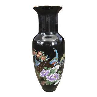 Japanese Black Peacock & Peonies Vase