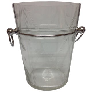 Mid-Century Chrome & Cut Glass Ice Bucket