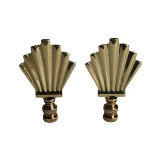Art-Deco Style Brass Fan Finials - A Pair