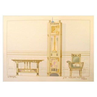 Vintage French Decorator Sheet Interior/Clock