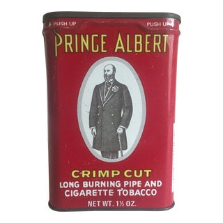 "Vintage 1970's ""Prince Albert Crimp Cut"" Lithograph Tobacco Tin Oval Box"
