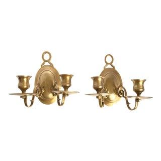 Vintage Candlestick Holders Brass Sconces - A Pair