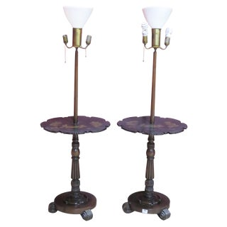 Pair Chinoiserie Paint Decorated Floor Lamps