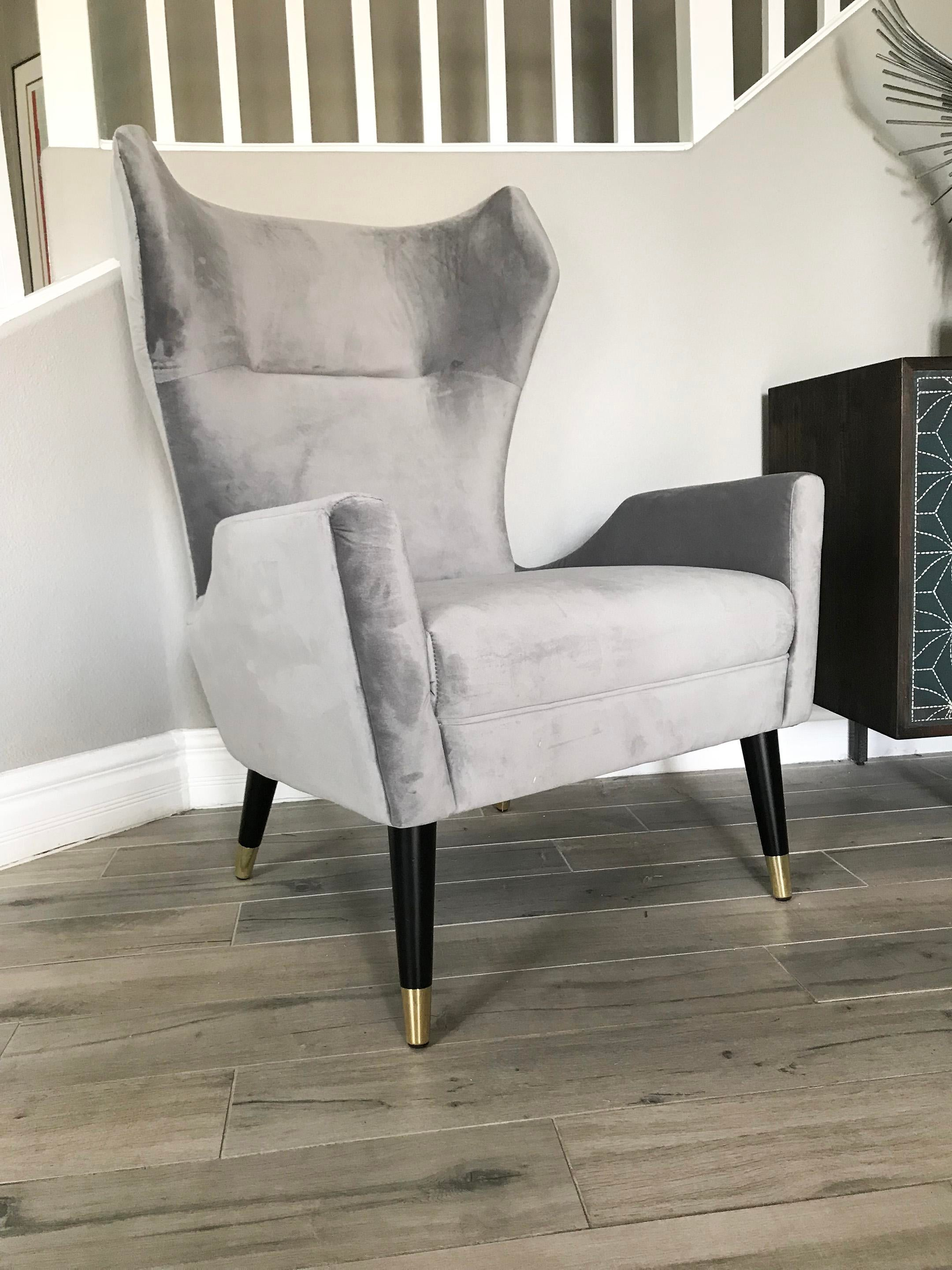 Grey Velvet Italian Modern Style Wingback Chair Chairish