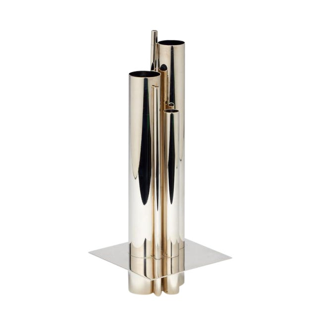 sophisticated gio ponti for christofle orgue 39 graduated tube silver plate vase decaso. Black Bedroom Furniture Sets. Home Design Ideas