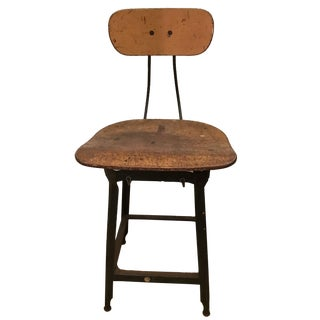 Antique Industrial Iron Drafting Stool