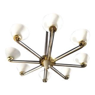 Decorative 1950s Italian Brass and Glass Eight-arm Chandelier