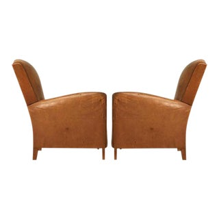 Circa 1930s French Leather Club Chairs - A Pair