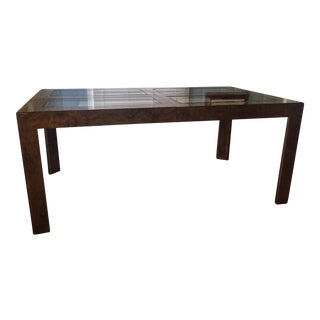 Milo Baughman for Founders Thomasville Burled Walnut Parsons Dining Table