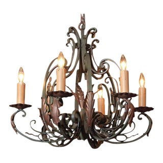 Early 20th Century French 6-Light Verdigris Finish Iron Chandelier