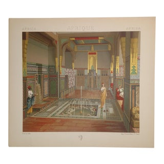 Vintage Color Lithograph 1888 Interior of Wealthy Man's House in Cairo Egypt Fourntain Salon