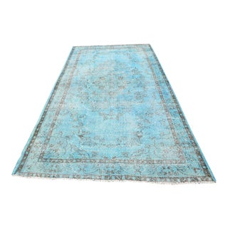 Turkish Aqua Overdyed Rug - 5′7″ × 9′11″