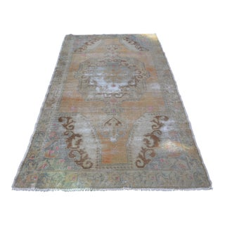 Turkish Antique Faded Rug - 4′4″ × 7′5″