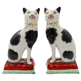Staffordshire Cats On Cushions - A Pair
