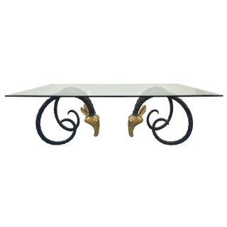 Monumental Brass Ibex & Glass Dining Table