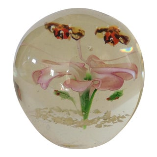 Frog & Pink Floral Art Glass Paper Weight