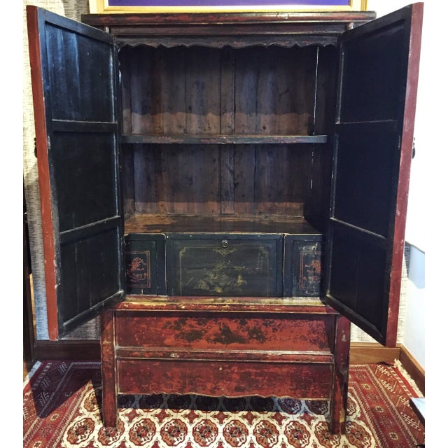 Antique Chinese Painted Wood Cabinet - Image 4 of 10