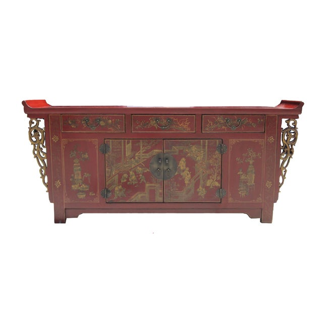 Chinese red gold scenery buffet console cabinet chairish for Asian console cabinet