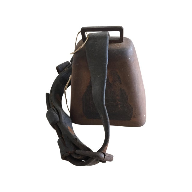 Antique Cow Bell with Leather Strap - Image 1 of 3