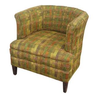 Mid-Century Green Tweed Barrel Chair