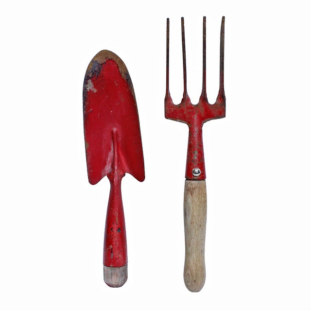 Image of Vintage Red Garden Trowel and Hand Rake - 2