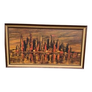 Mid-Century Brown-Tone Cityscape Print