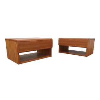 Teak One Drawer Nightstands / Side Tables - A Pair