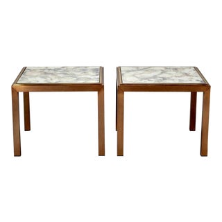Mid-Century Square End Tables With Marbelized Mirror Tops - Pair