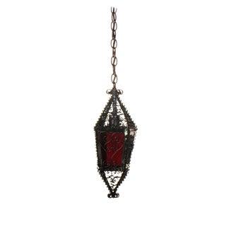 Small Handmade Moorish Lantern With Red Glass