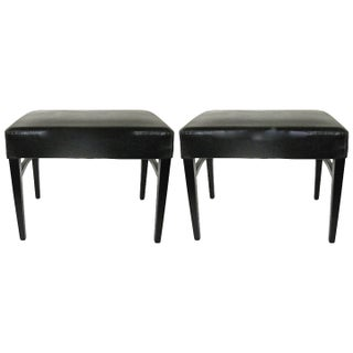 Modern Black Leather Benches - Pair