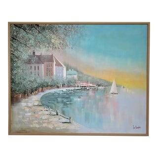 Lee Reynolds Original Seascape Maritime Oil Painting on Canvas Mid Century Modern MCM Large Scale Sailboats Harbor Scene Millennial Pink