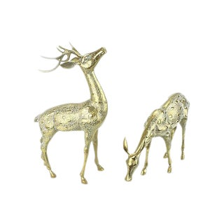 Large Brass Reindeers - A Pair