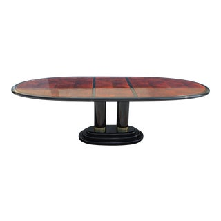 Henredon Art Deco Black Lacquered & Burlwood Dining Table