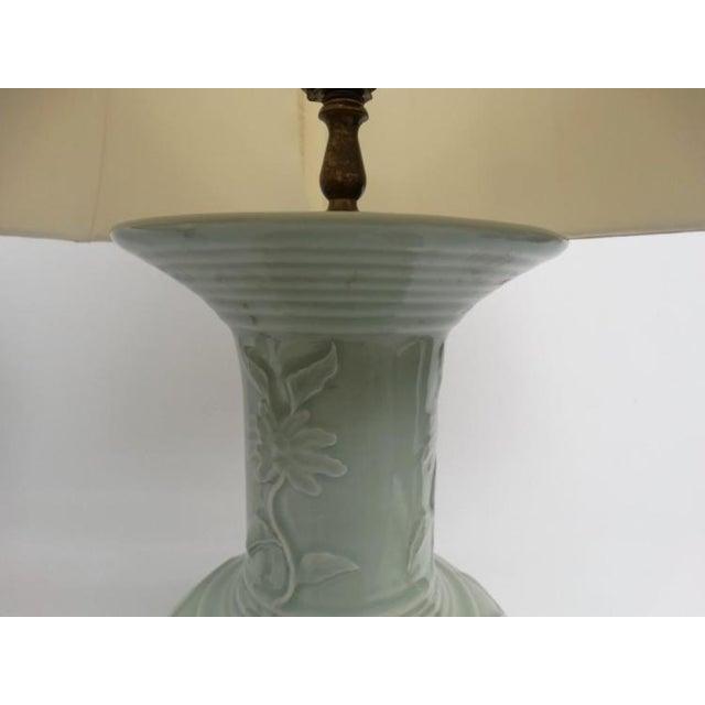 Antique Celadon Porcelain Lamps - Pair - Image 5 of 5