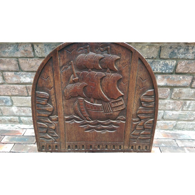 Antique Solid Wood Carved Nautical Ship Fire Screen - Image 3 of 9