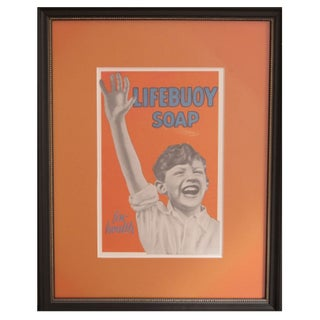Framed Vintage British Lifebuoy Advertisement