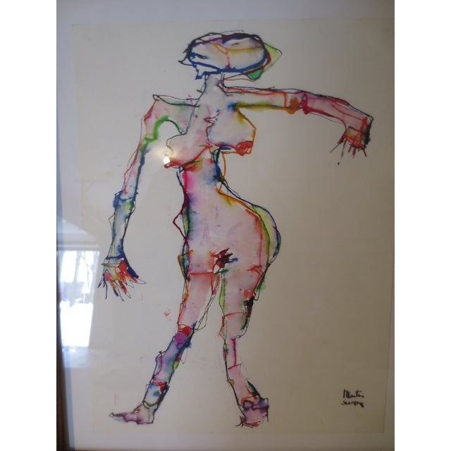 Image of Martin Sumers Female Figure Study in Watercolor