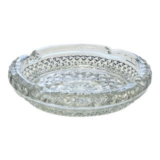Mid-Century Clear Cut Glass Ashtray
