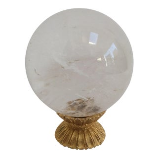 Rock Crystal Quartz Ball on Gold Stand