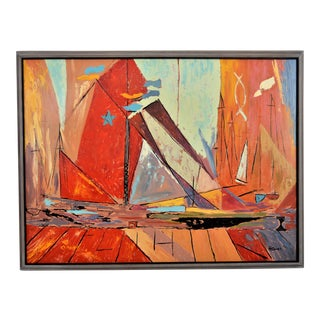 Large Scale Mid-Century Modern Abstract Expressionist Oil Painting by Homer 1966 Cubist Decorative MCM