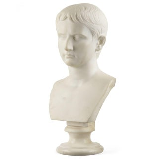 Italian Grand Tour Marble Bust of Caesar Augustus, 19th Century