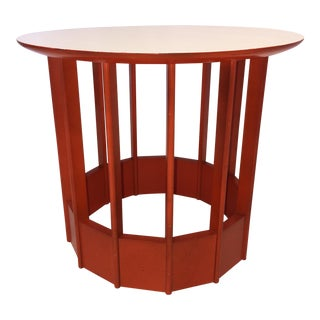 Hickory Mfg. Co. Orange & White Side Table