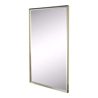 Vintage Mid Century Modern Minimalist Brass Tone Beveled Glass Mirror McCobb Style