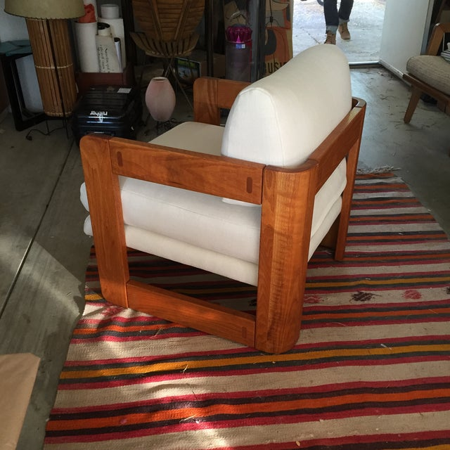 Vintage Wood and Linen Armchair - Image 4 of 11