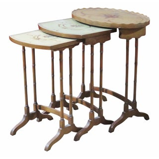 French Style Paint Decorated Nesting Tables- Set of 3