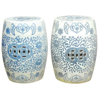 Pair of Faded Blue and White Garden Stools or Drink Tables
