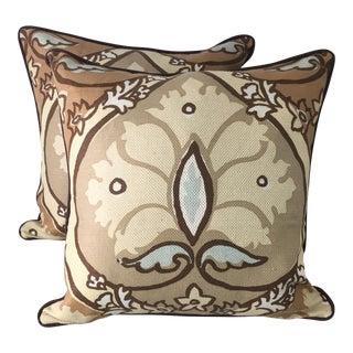 Brown & Blue Leaf Pillows - A Pair