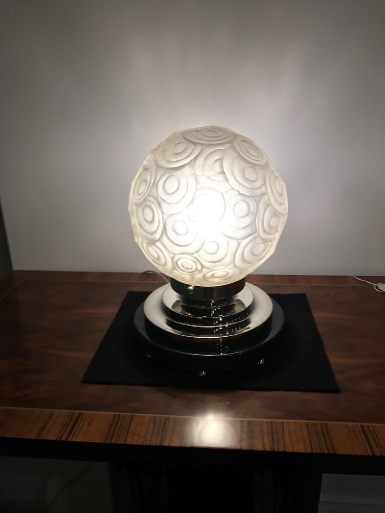 French Art Deco Table Lamp By Sabino With Geometric Motif   Image 10 Of 10