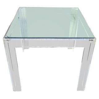 Square Beveled Lucite Dining Table