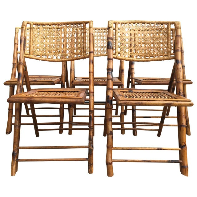 Scorched Bamboo Frame Folding Chairs - Set of Five - Image 1 of 9